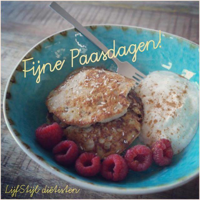 Fijne Pasen!!! easter eggs pancakes banana Pasen fruits raspberry healthyfoodhellip