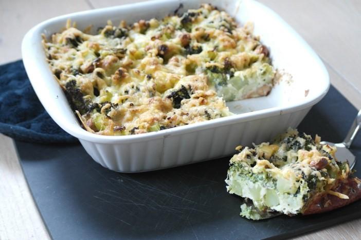 Broccolitaart zonder deeg