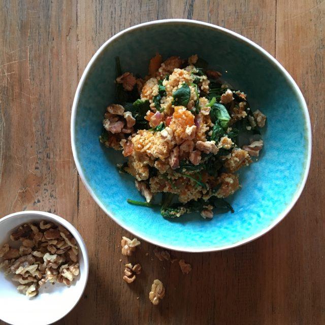 bloemkoolcouscous met pompoen en spinazie lijfstijl dietisten