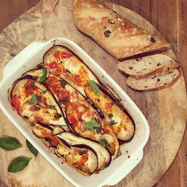 koolhydraatarme lasagne van aubergine
