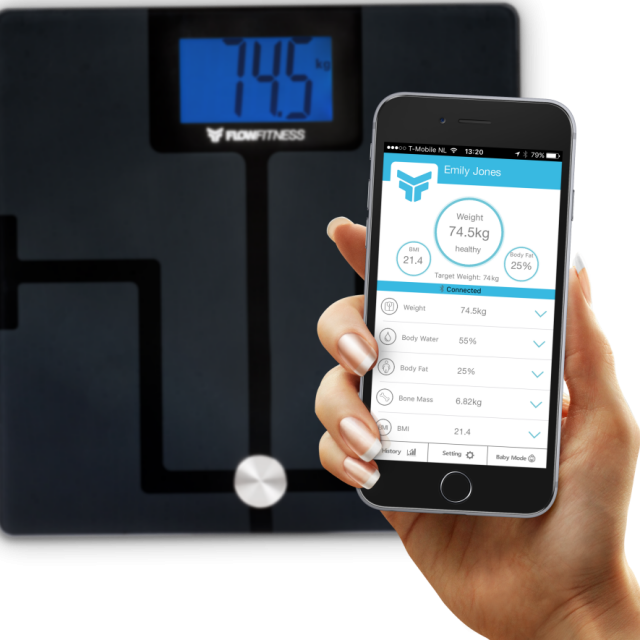 flow fitness bluetooth body analyser weegschaal