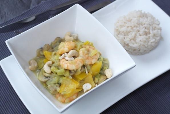 kokosrijst met prei en garnalen