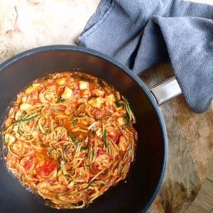 spaghetti met pittige garnalen lijfstijl